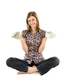 Free Young Woman With Dollars And Euros; Isolated Stock Photo - 8197360