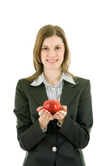 Free Smiling Business Woman With An Apple; Isolated Stock Photos - 8197363