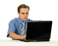 Free Businessman Working On Laptop. Isolated On White. Stock Photos - 8197473