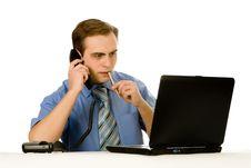 Free Businessman Working On Laptop. Isolated On White. Stock Photos - 8197493
