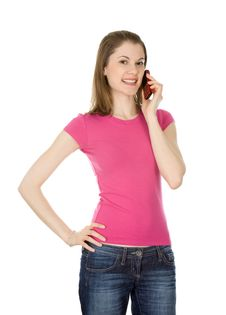 Free Girl Talking On The Phone. Isolated On White Royalty Free Stock Photos - 8197518