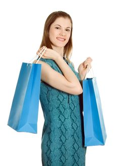 Free Girl With Shopping Bags. Isolated On White Stock Images - 8197524