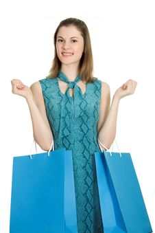 Free Girl With Shopping Bags. Isolated On White Royalty Free Stock Photo - 8197525