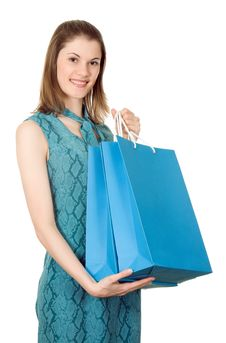 Free Girl With Shopping Bags. Isolated On White Stock Image - 8197531