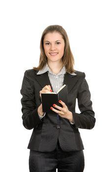 Free Friendly Businesswoman With A Notebook Royalty Free Stock Photos - 8197538