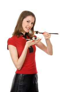 Free Girl With Chopsticks And Sushi. Isolated On White Royalty Free Stock Image - 8197616