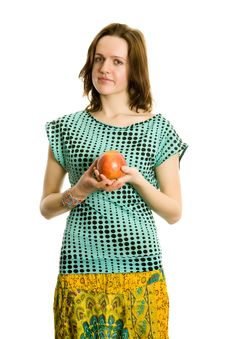 Free Young Girl With An Apple. Isolated On White. Stock Image - 8197621