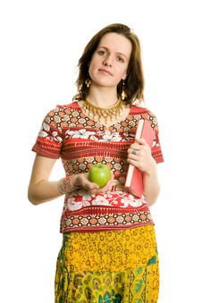 Girl With Book And Apple. Isolated On White Royalty Free Stock Photo
