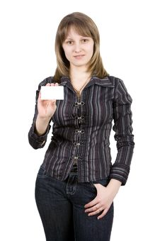 Woman With A Business Card. Isolated On White Royalty Free Stock Images