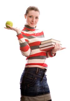 Free Young Girl With Book And Apple. Isolated On Whit Stock Photos - 8197763