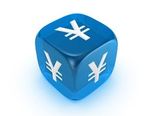 Free Translucent Blue Dice With Yen Sign Royalty Free Stock Photography - 8199527
