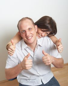 Lovers Show Thumbs Up Royalty Free Stock Image