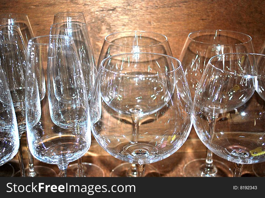 Wineglasses baloons and goblets
