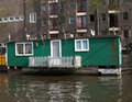 Free Green Houseboat On Amstel Royalty Free Stock Photo - 823995