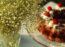 Free Cherry Cake With Flowers Stock Photos - 820003