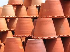 Clay Flower Pots Upside Down Royalty Free Stock Photos