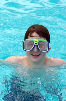 Boy With Swimming Goggles Stock Photo