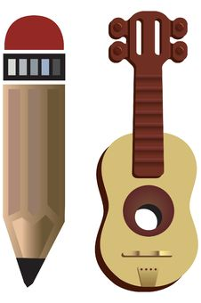Free Pencil And Music Instrument Royalty Free Stock Photos - 828628