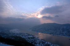 Sunset On Danube Royalty Free Stock Photo
