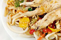 Free Grilled Chicken On Udon Noodles With Vegetables Stock Photos - 8202923