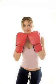 Free Kickboxer Woman Training Royalty Free Stock Photography - 8200087