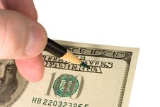 Free Hand With A Pencil And Dollar Bill Stock Photography - 8200162