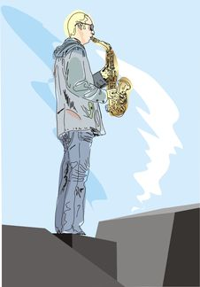 Free The Man With Saxophone Royalty Free Stock Images - 8200569