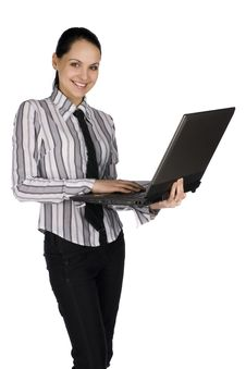 Free Smiling Businesswoman With Laptop Stock Photos - 8202983