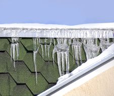 Icicles On Roof Stock Images