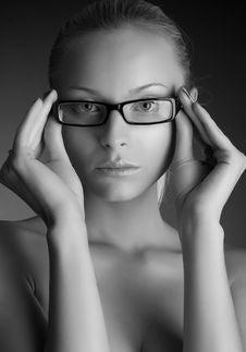 Beautiful Girl In Stylish Glasses Stock Image