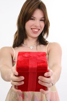 Free Beautiful Hispanic Girl With Gift Royalty Free Stock Photos - 8204168
