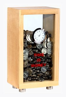 Free Moneybox With A Watch Royalty Free Stock Images - 8204229