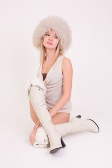 Free Upset Girl In Furry Hat Royalty Free Stock Photography - 8204277