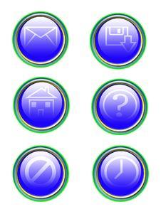 Blue Symbol Icon Set Royalty Free Stock Image