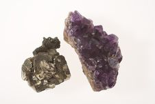 Two Stones - Pyrite And Amethyst Stock Image