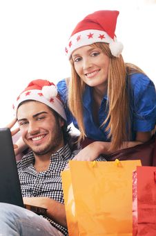 Christmas On-line Shopping Royalty Free Stock Image