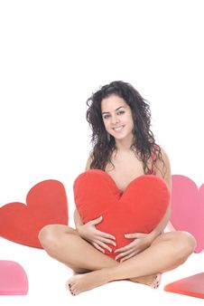 Free Beautiful Woman With Hearts Royalty Free Stock Photos - 8206658