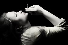 Free Beautiful Young Woman With A Cigarette In A Hand Royalty Free Stock Photos - 8206828