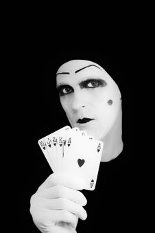 Free Portrait Of The Mime With Royal Flush Stock Photos - 8206863