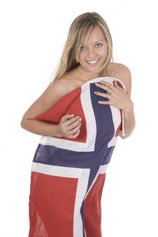 Beautiful Young Woman Wrapped Into A Norwegian Fla Stock Images