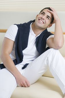 Free Man Wearing White Clothes Laughing Stock Photos - 8206973