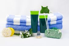 Free Striped Towels With Creams Royalty Free Stock Photography - 8207277