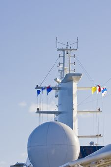 Free Ship Satellite Tower And Flags Stock Image - 8207791