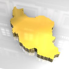 Free 3d Golden Map Of Iran Stock Photography - 8208592