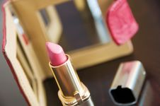 Free Red Lipstick And Mirror Stock Photography - 8209472