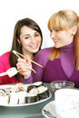 Free Womans Eating  Sushi Stock Photo - 8216040