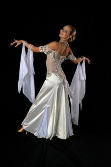 Dancer In Blue-white Dress Royalty Free Stock Photo