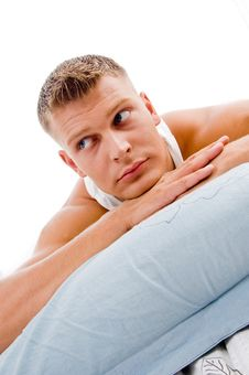 Man Lying And Looking Sideways Pillows Stock Images