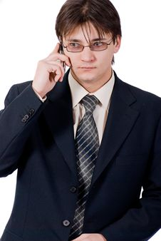 Free Young Businessman Calling By Cellular Phone Stock Images - 8211554