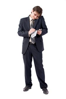 Free Young Businessman Calling By Cellular Phone Stock Image - 8211561